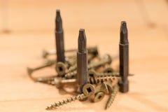 Pedazos para los destornilladores junto con varios tornillos colocados en una madera foto de archivo libre de regalías