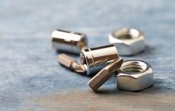 Pedazos para un destornillador y las nueces de maleficio en fondo de madera foto de archivo