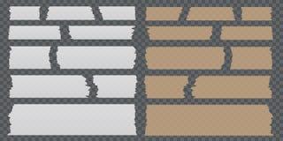 Pedazos pegajosos de la cinta de diverso tamaño en fondo transparente Imágenes de archivo libres de regalías
