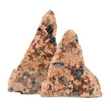 Pedazos pulidos de la piedra del granito aislados en el fondo blanco Imágenes de archivo libres de regalías
