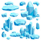 Pedazos quebrados de hielo Ejemplos del vector del diseño de juego en estilo de la historieta ilustración del vector