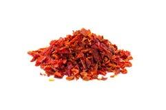 Pedazos rojos de la pimienta dulce Fotografía de archivo