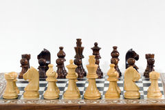 Pedazos y tarjeta de ajedrez en blanco Imágenes de archivo libres de regalías