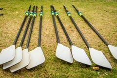Peddels voor het roeien in het gras voor de concurrentie royalty-vrije stock afbeelding