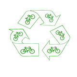 Peddle power. Green recycle symbol and bicycles save the air Royalty Free Stock Photo