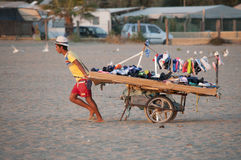 Peddler on the beach of Cerveteri Royalty Free Stock Image