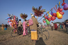 Peddlers selling balloons and toys in Nepal Royalty Free Stock Image