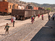Peddling at train stop. Tarahumara Indians peddle their goods at a train stop Royalty Free Stock Images