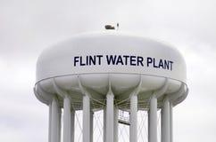 Pedernal, Michigan: Flint Water Plant Tower Foto de archivo