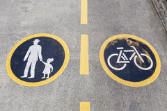 Pedesrtian and Bicycle Lanes Sign Stock Photos