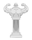 Pedestal with body of athlete. Greek column with a strong man. V Royalty Free Stock Photo