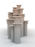 Pedestal Column Cluster White Royalty Free Stock Photography