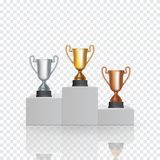 Pedestal with the cup winner of the first Gold, the second Silver and the third Bronze place on transparent. Background. Vector Illustration. EPS10 Royalty Free Stock Photos