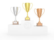 Pedestal with cups. Royalty Free Stock Images