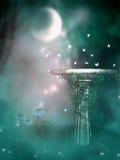 Pedestal en el claro de luna ilustración del vector