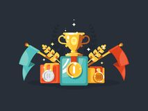 Pedestal with gold cup and medals Royalty Free Stock Photography