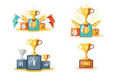 Pedestal with gold cup and medals set royalty free illustration