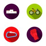 A pedestal of honor for the winners, a bicycle, a lock, a boxer s glove. Sport set collection icons in flat style vector Royalty Free Stock Photo