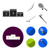Pedestal of honor for the winners, bow for shooting arrows, racket with a ball for the tennis, hockey stick and puck. Sports set collection icons in black,flat Stock Photo