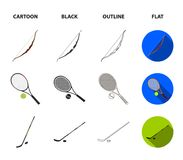 Pedestal of honor for the winners, bow for shooting arrows, racket with a ball for the tennis, hockey stick and puck. Sports set collection icons in cartoon Royalty Free Stock Photography