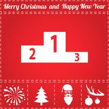 Pedestal Icon Vector. And bonus symbol for New Year - Santa Claus, Christmas Tree, Firework, Balls on deer antlers Stock Photo