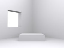 Pedestal inside isolated white room. With window stock image
