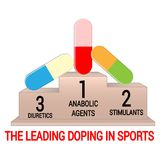 Pedestal with leading doping agents in sports. Isolated on white. Background. Suitable for use in articles on doping scandals in sport vector illustration