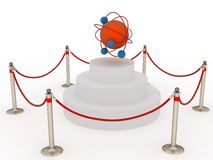 Pedestal with molecular model closer fence Stock Image