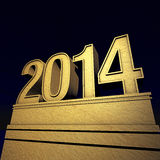 New year New Year's day 2014. Pedestal with number in spotlight Stock Photo