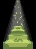 Pedestal out of money. Ladder to wealth of dollars. Rain of cash Royalty Free Stock Image