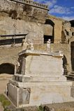 Herculaneum Terrace, Campania, Italy. Pedestal and statues on the Herculaneum Terrace in portrait mode Stock Photos