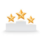 Pedestal with three stars Royalty Free Stock Photography