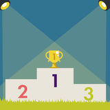 Pedestal with trophy cup. Vector illustration Royalty Free Stock Image