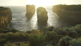Pedestal up at Island Archway lookout in the Twelve Apostles in Australia stock footage