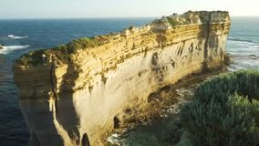 Pedestal up in Razorback lookout at sunset in The twelve apostles in Australia stock footage