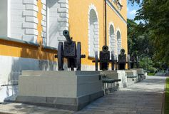 The pedestal with war trophies of the XVI-XIX centuries in the Moscow Kremlin. Artillery left by the French army on the battlefields of the War of 1812 Royalty Free Stock Photos