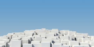 Pedestal of white cubes Stock Images