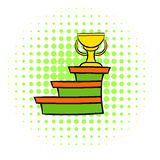 Pedestal and winner cup icon, comics style Stock Images
