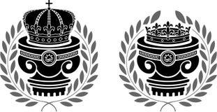 Pedestales de coronas Imágenes de archivo libres de regalías