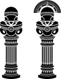 Pedestals of roman helmets Stock Image