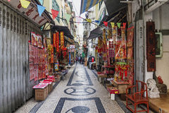 Pedesterian shopping street in macau macao china Royalty Free Stock Photography