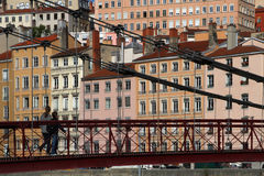 Pedestrain bridge in Lyon Stock Images