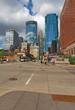Pedestrain and car traffic and a partial skyline of Minneapolis, Stock Image