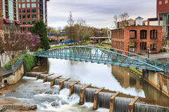 Pedestran Bridge Downtown Greenvillel SC Stock Image