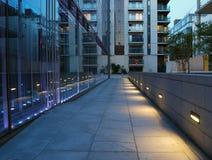 Pedestria pathway. A pedestrian path between modern buildings in Dublin docklands stock photography