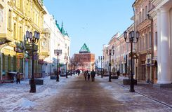 The pedestrial street in Nizhny Novgorod Stock Image