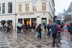 Pedestrialstreek in Kopenhagen stock afbeelding
