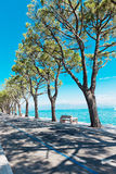 Pedestrian alley on the banks of Garda lake Royalty Free Stock Images