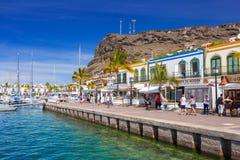 Pedestrian alley in the harbor area of Puerto de Mogan, Gran Canaria Stock Photo