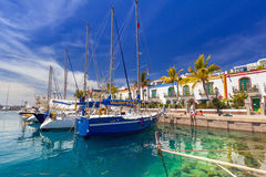 Pedestrian alley in the harbor area of Puerto de Mogan, Gran Canaria Stock Image